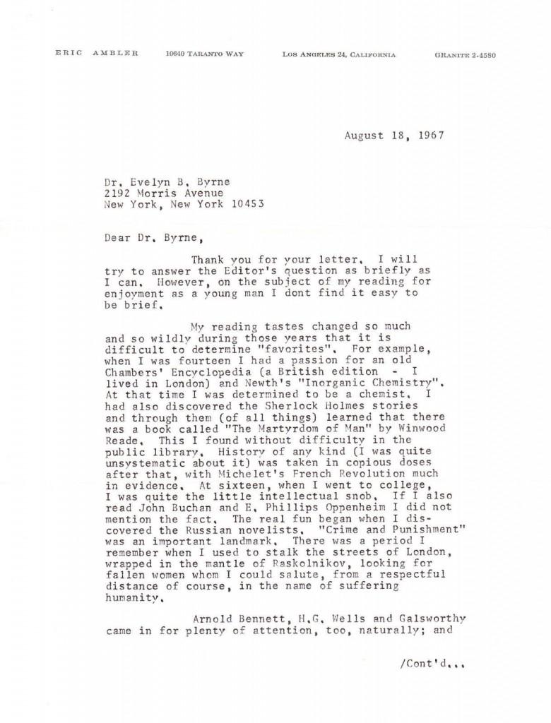 Eric Ambler letter to Dr. Byrne