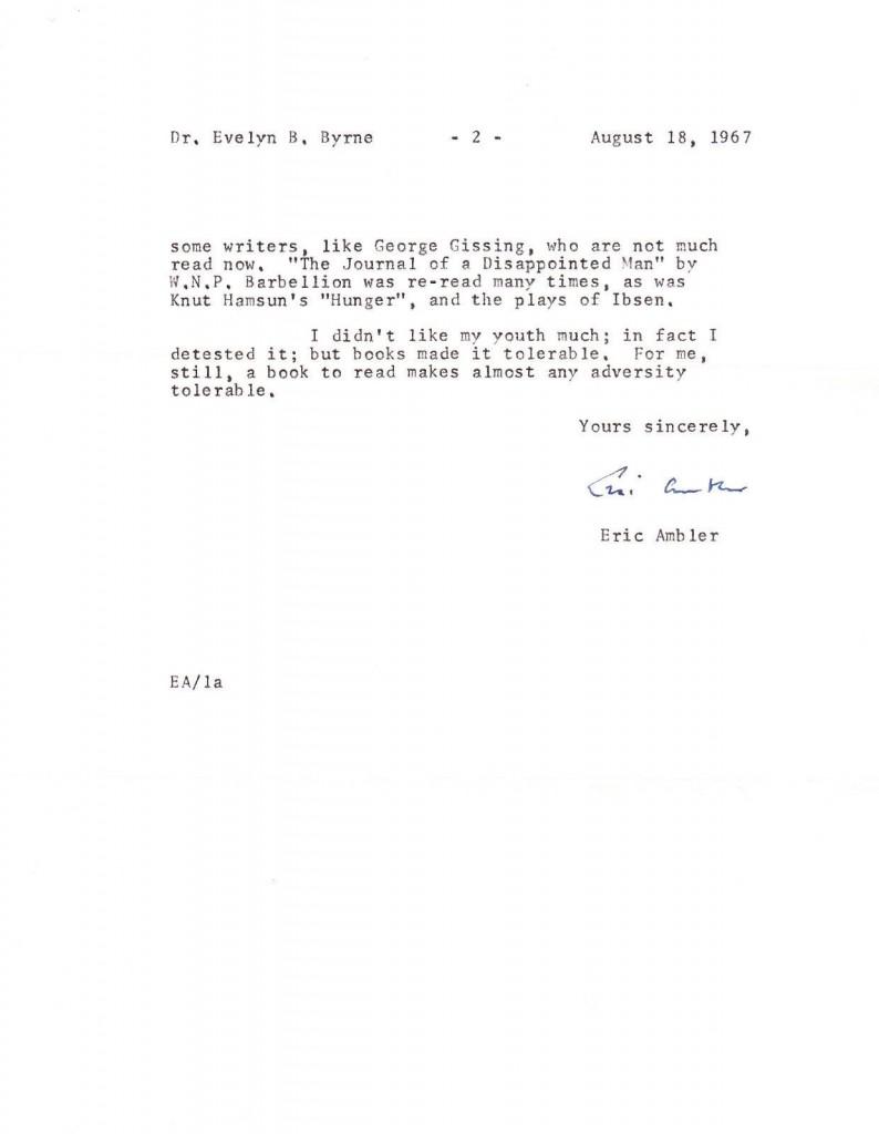 Eric Ambler letter to Dr. Byrne2
